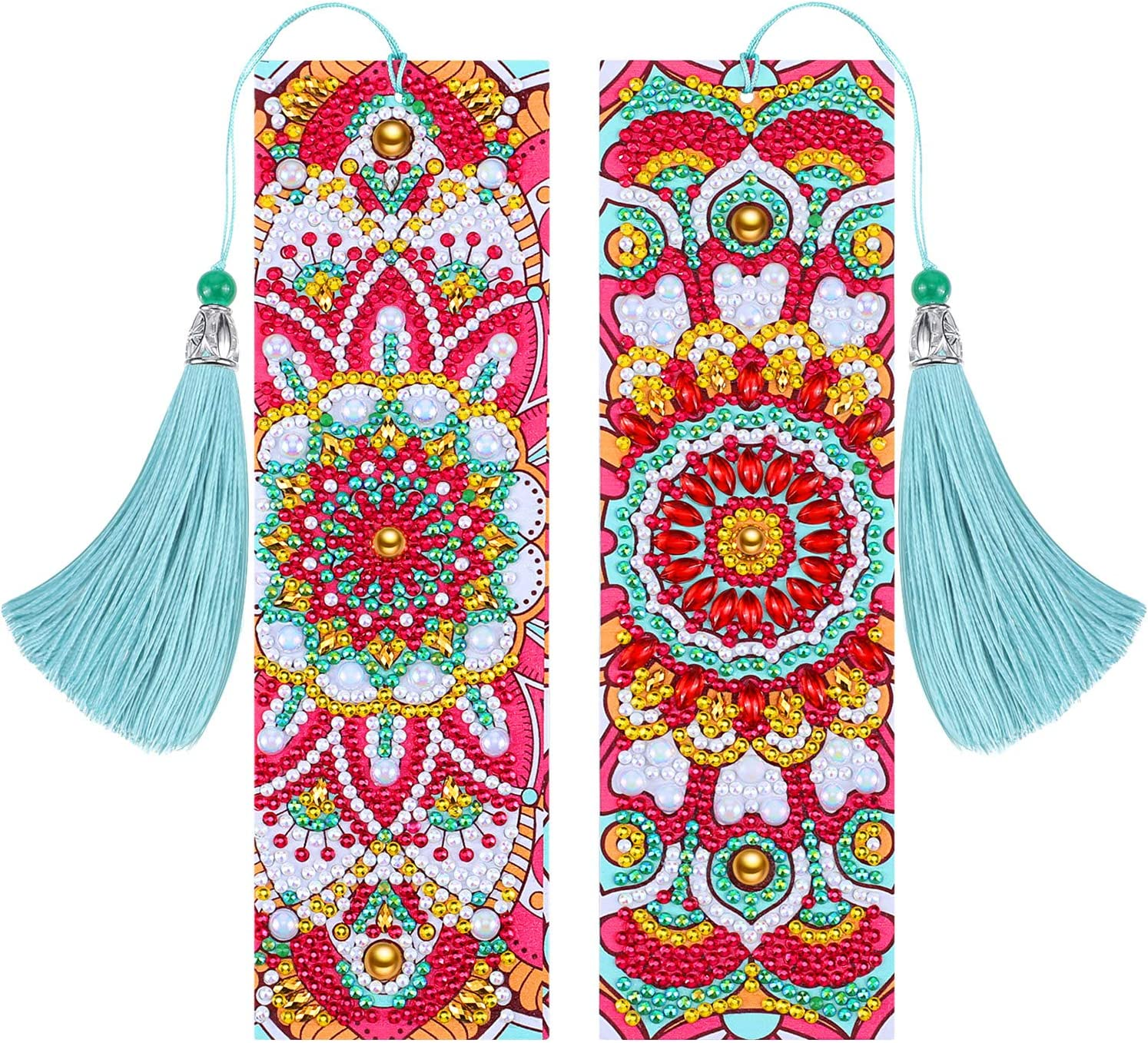 2 Pieces 5D Diamond Painting Bookmarks DIY Beaded Mandala Bookmarks Beautiful Leather Tassel Bookmarks for Mothers Day Birthday Graduation School Embroidery Arts Crafts