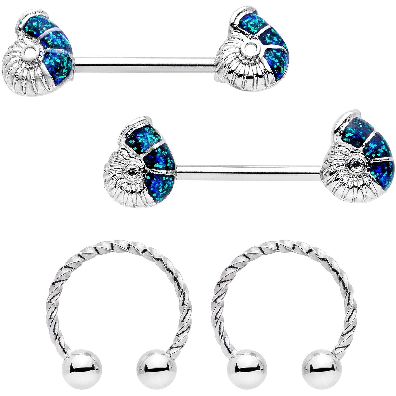 Body Candy 14G Women Nipplerings Piercing 316L Stainless Steel 4Pc Blue Seashell Nipple Shield Set 16mm-14mm