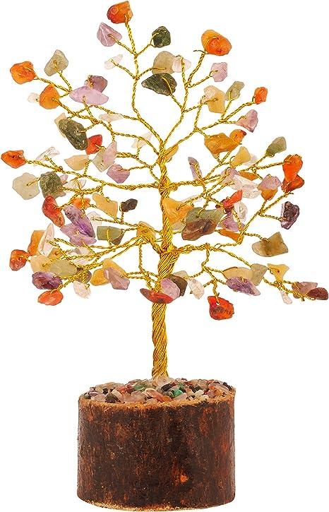PYOR Carnelian Good Luck Feng Shui Bonsai Money Tree Wealth Spiritual Gemstone Chakra Stone Aura Cleansing Silver Wire 7-8 Inch