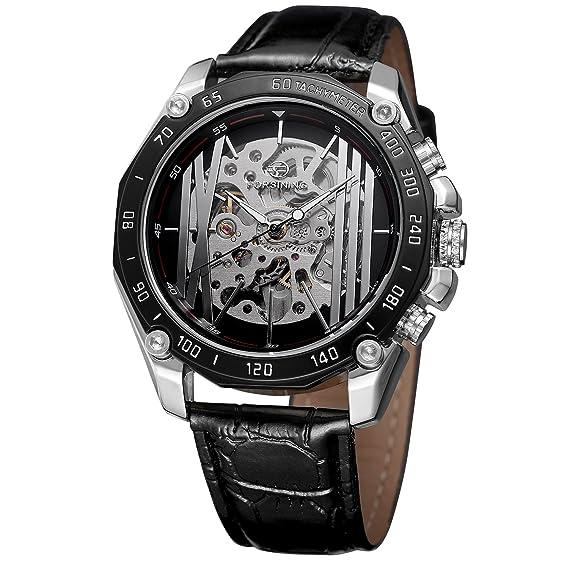 FORSINING - Reloj de pulsera para hombre, estilo casual, analógico, automático, con correa de piel: Amazon.es: Relojes