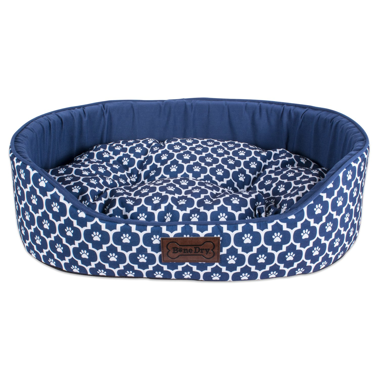 DII Bone Dry Lattice Pet Bed, 27x36x10'', Modern & Fashionable Large Oval Bed For Dogs Or Cats-Navy