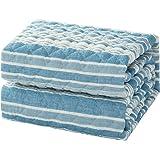 Bedsure 敷きパッド 綿100% 洗える 100×205cm コットン ライト ブルー 先染めしじら織り シングル ひんやり 和風