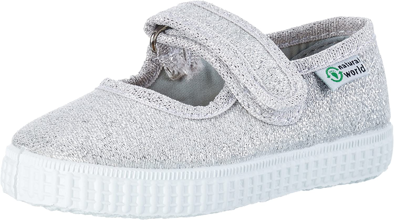 Natural World Mercedes Velcro Metalizado Mary Janes Fille