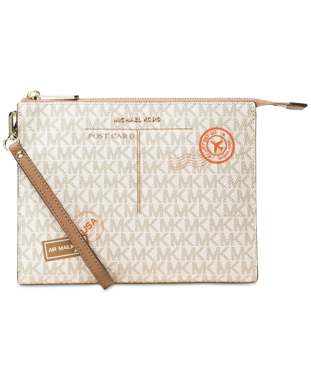 MICHAEL Michael Kors Signature Mail Large Box Travel Pouch, Vanilla/Cashew