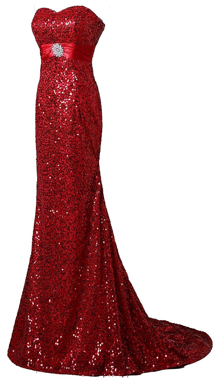 Mkleids Women's Floor-Length Lace Sequins Sweetheart Evening Dresses