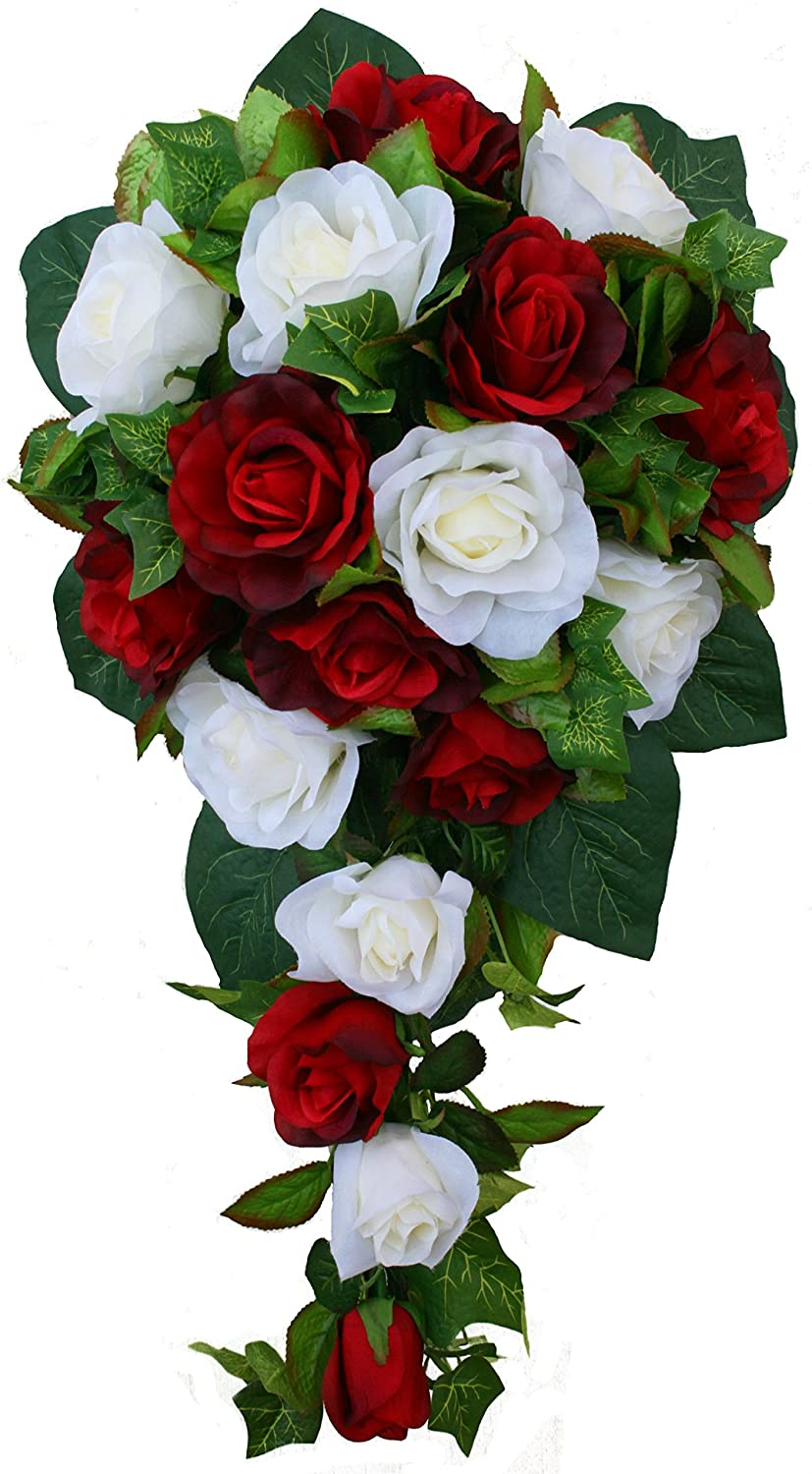 Amazon Red And Ivory Silk Rose Cascade Bridal Wedding Bouquet