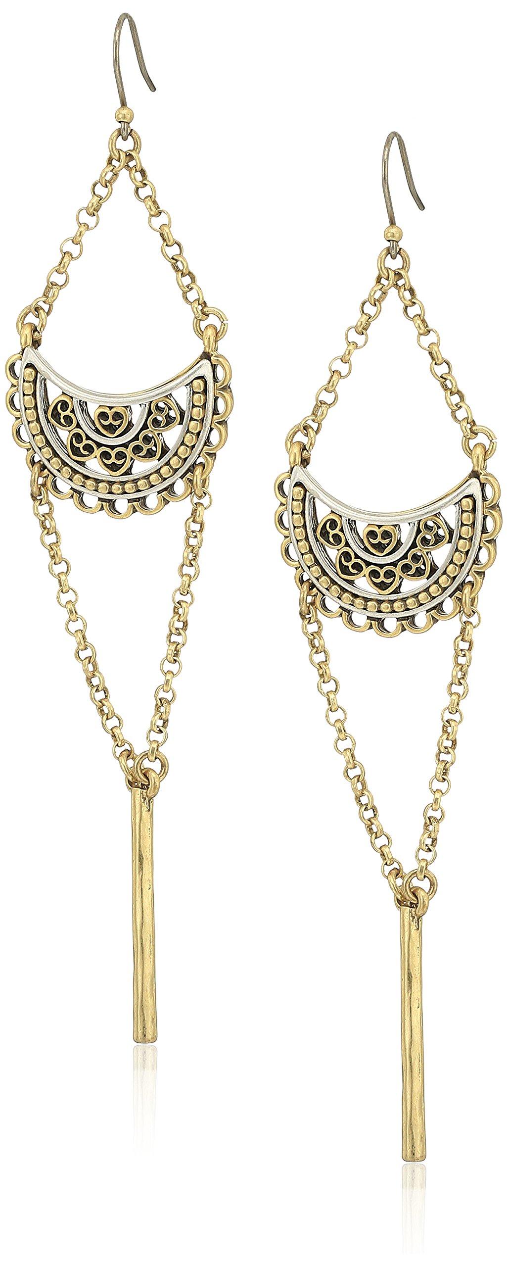 Lucky Brand Two Tone Openwork Chandelier Earrings