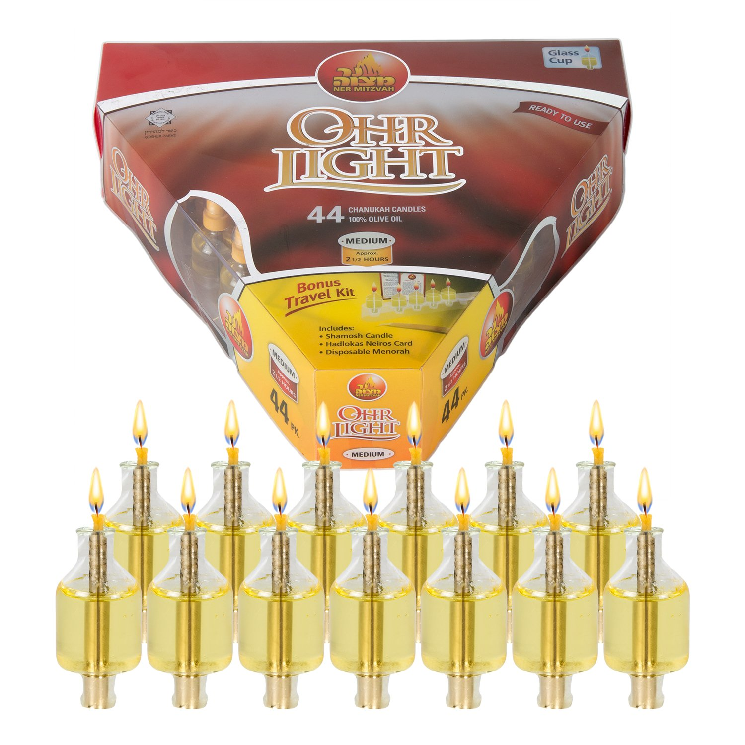 Ner Mitzvah Pre-Filled Menorah Oil Cup Candles - Hanukkah Ohr Lights - 100% Olive Oil with Cotton Wick in Glass Cup - Medium Size, 44 per Pack, Burns Approx. 2 1/2 Hrs by Ner Mitzvah