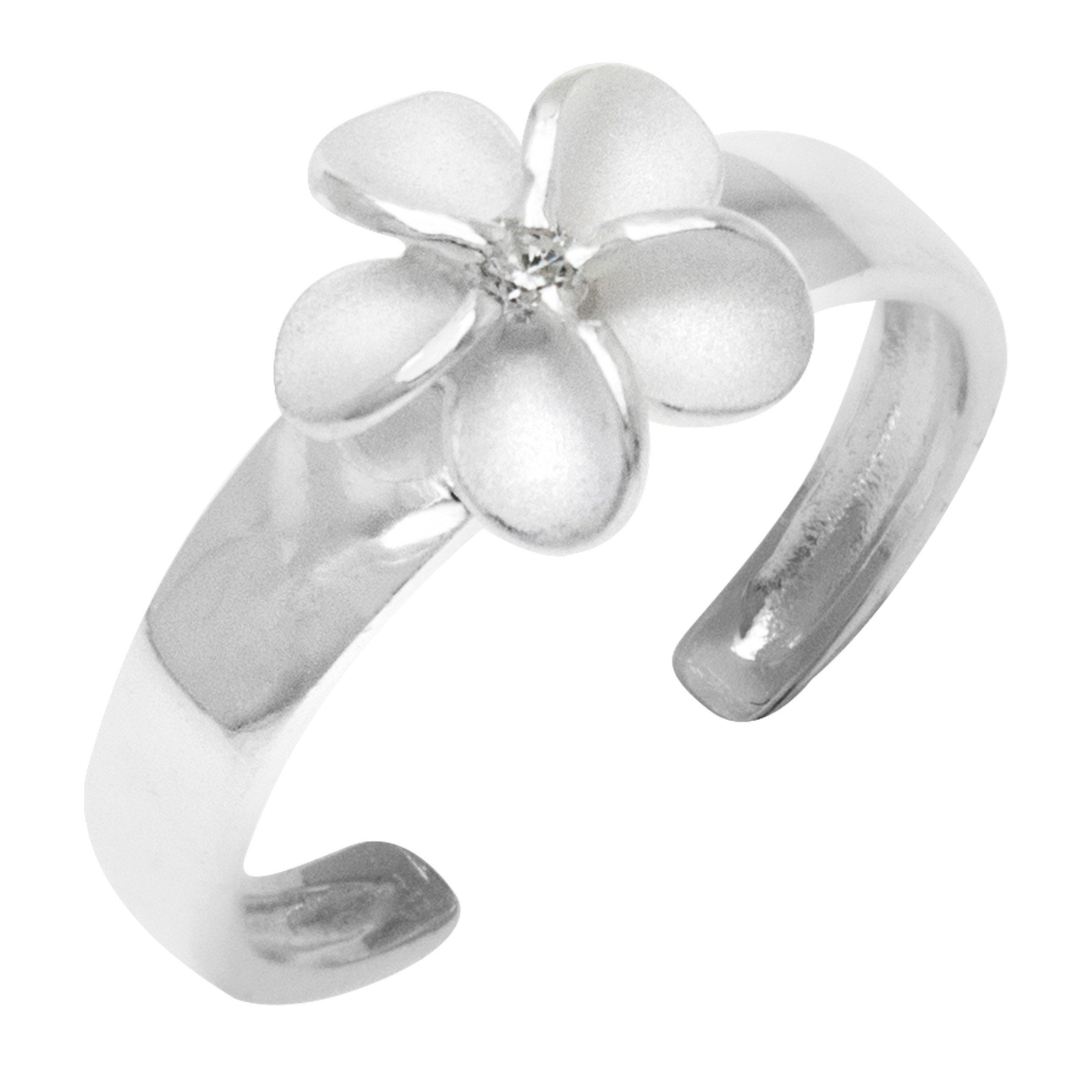 Sterling Silver Plumeria Flower CZ Toe Ring