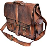 TUZECH Rustic Big Pocket Pure Leather Bag Office Satchel Bag - Fits Laptop Upto (11 Inches)