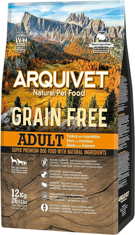 Arquivet Pienso natural para perros adultos - Grain free - Sin grano - Pavo con verduras - Comida natural para perros - Alimentación canina - Pienso ...