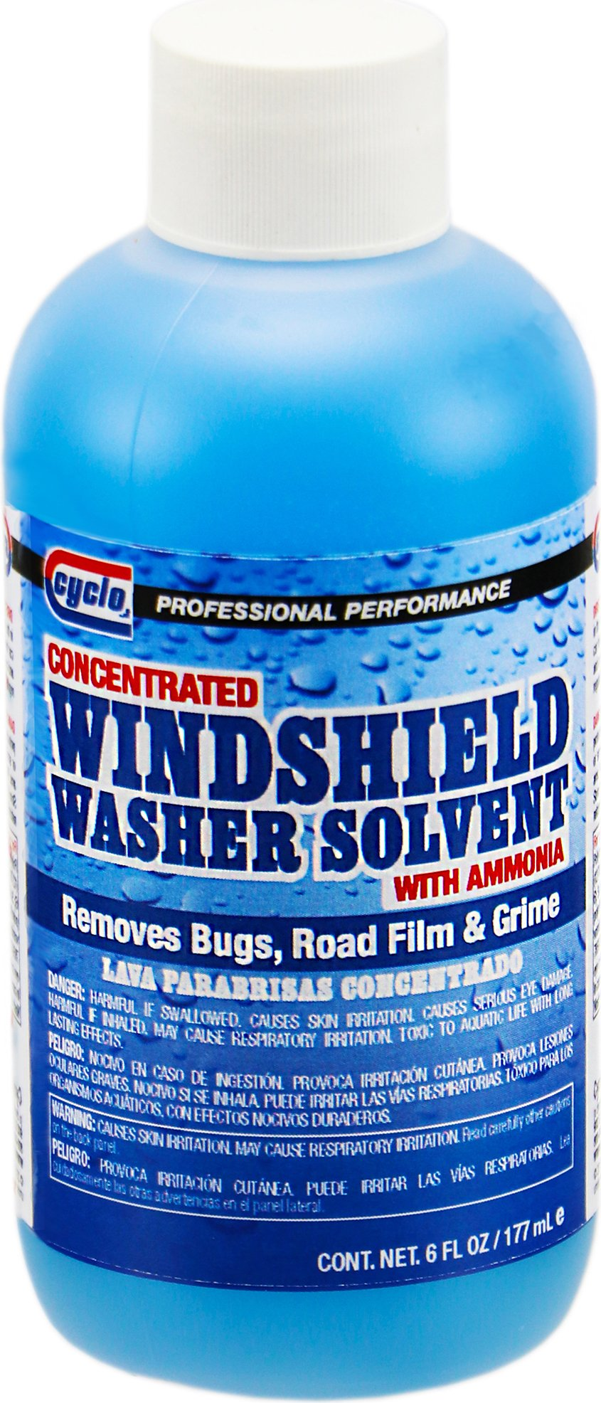Niteo Cyclo Concentrated Windshield Washer Solvent with Ammonia, 6 fl oz, Case of 24