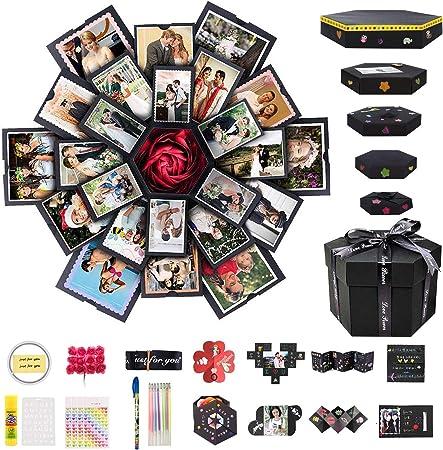 Caja de Explosión Creativa Caja de Regalo de 6 Caras, Álbum de Fotos de Hecho a Mano Love Memory DIY, Regalo de Cumpleaños, Caja Sorpresa de Boda o Día de San Valentín: