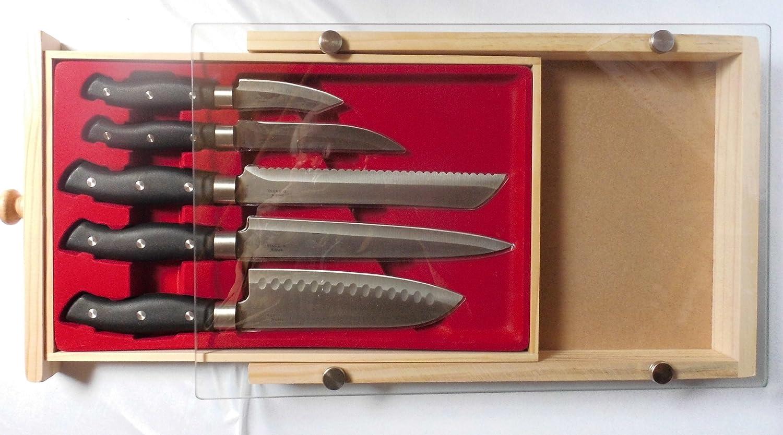 Cuchillo de cocina negro remaches mango de cortar de madera ...
