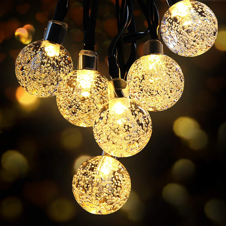 Guirnaldas Luces Exterior Solar, OMERIL Luces Navidad Guirnalda Solar de USB Recargable con 50 LED Bola de Cristal, Cadena de Luces LED para Decoración, Exterior, Jardín, Árbol, Patio, Boda, Fiesta