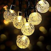 Guirnaldas Luces Exterior Solar, OMERIL Luces Navidad Guirnalda Solar de USB Recargable con 50 LED Bola de Cristal…