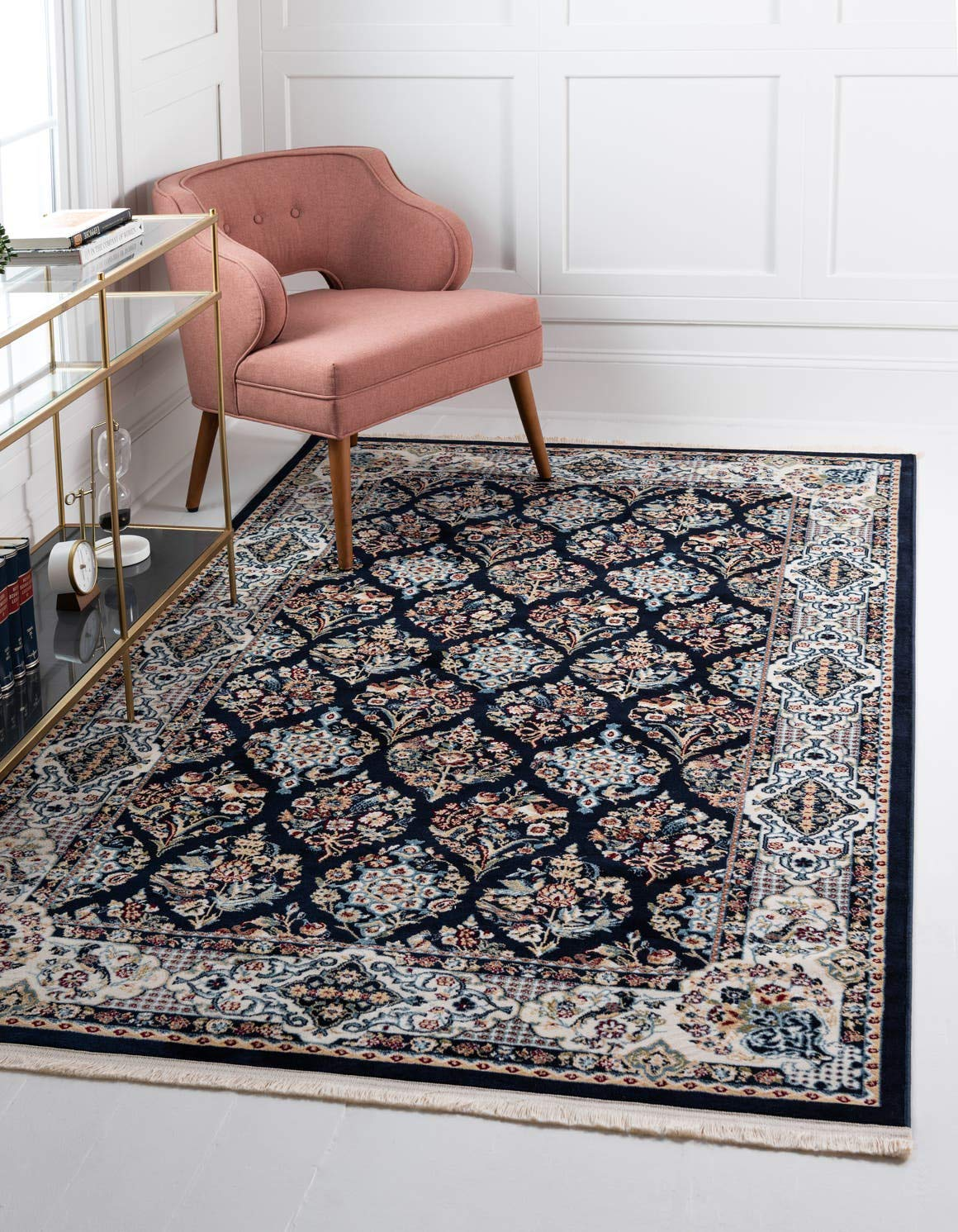 Unique Loom Narenj Collection Classic Traditional Repeating Pattern Navy Blue Area Rug 5 0 x 8 0
