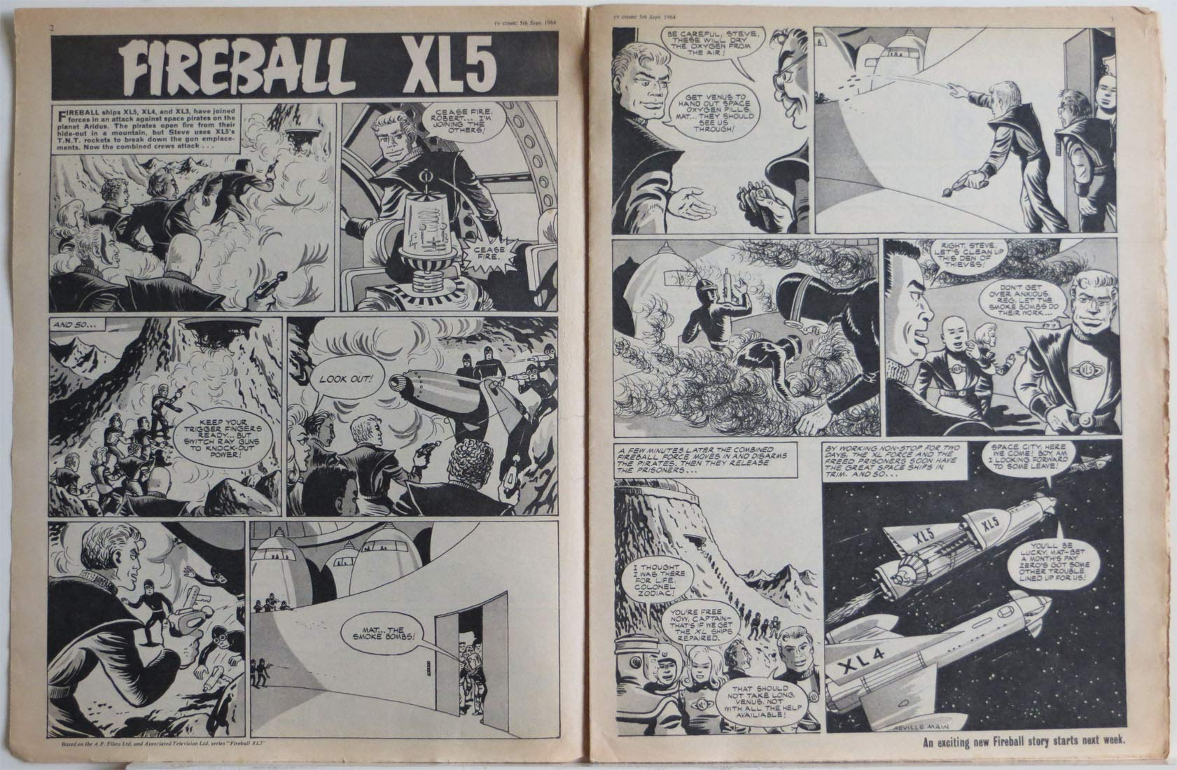 Tv Comic No664 5th September 1964 Featuring Fireball Xl5