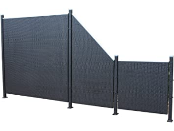 Poly Rattan Privacy Screen Fence Set 7 Piece Set From Prime Tech