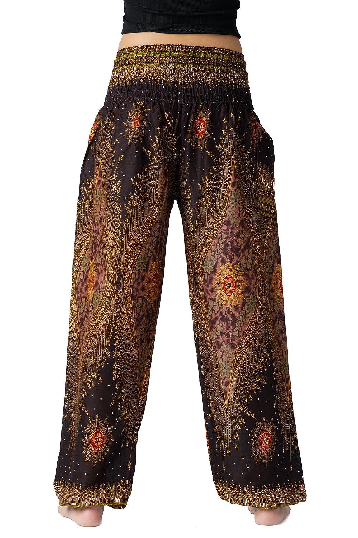 4310af947497b ... Bangkokpants Womens Boho Pants Hippie Clothes Yoga Outfits Peacock  Design One Size Fits G9-JR10 ...