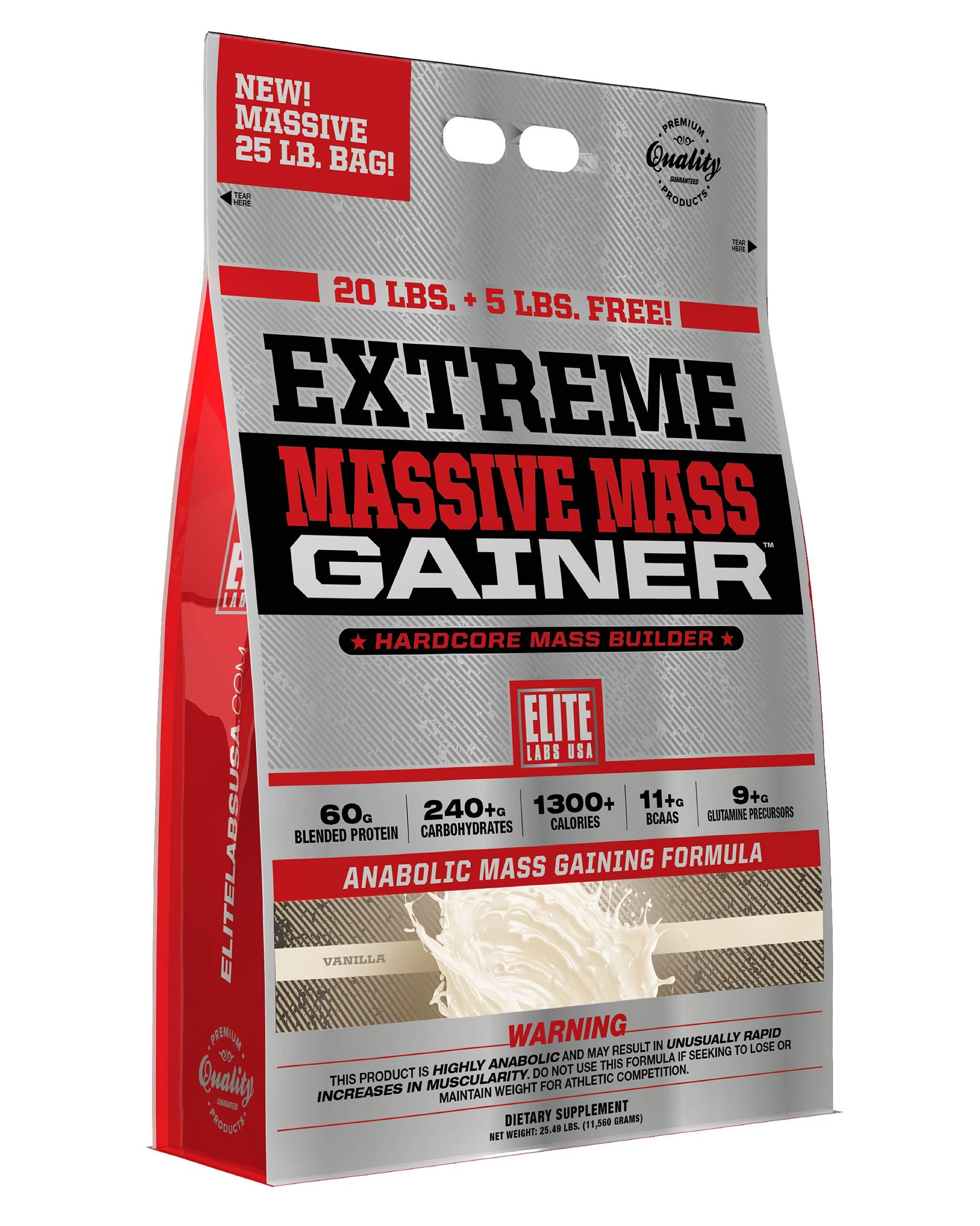 Elite Labs USA Extreme Massive Mass Gainer 25 Pound, Vanilla