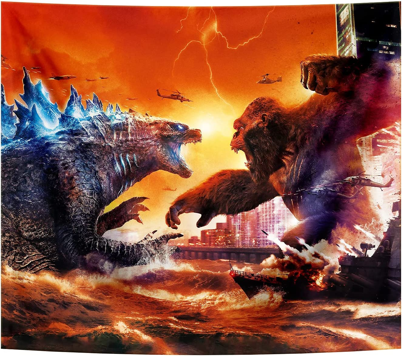 Tapestry Godzilla vs Kong Monsters Theme Party Supplies Fabric Wall Hangings Tapestry for Home Bedroom Living Room Dorm Wall Decor 51x59in