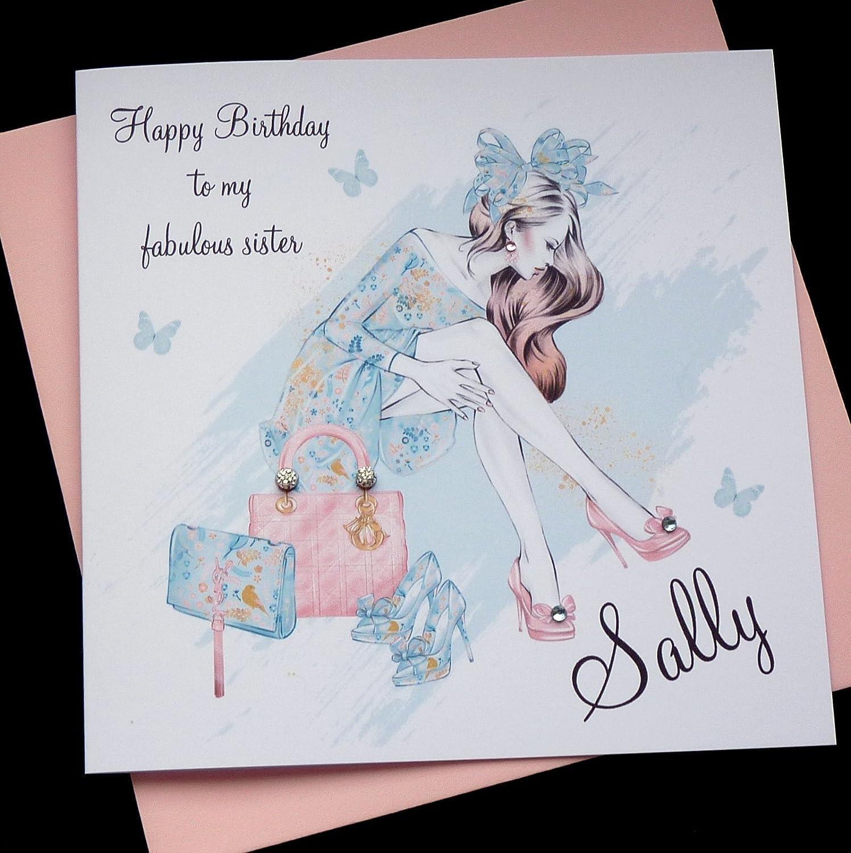 Ladies Girls Handmade Personalised Birthday Card ANY AGE Bike Dog Shopping Cute