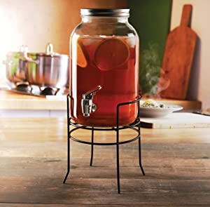 Circleware Americana Sun Tea Mason Jar Beverage Dispenser with Stand, Fun Party Entertainment Home Kitchen Glassware Water Pitcher for Juice, Beer & Cold Drinks, Lead-Free, 1 Gallon
