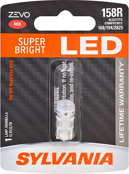 Contains 1 Bulb SYLVANIA Bright LED Bulb 158 T10 W5W ZEVO LED Blue Bulb Ideal for Interior Lighting