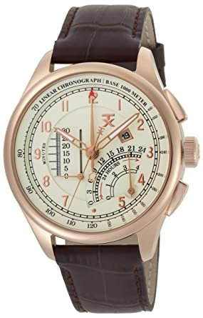 25e7c89d9 TX Men's T3C193 Classic Linear Chronograph Rose Gold Brown Leather Strap  Watch