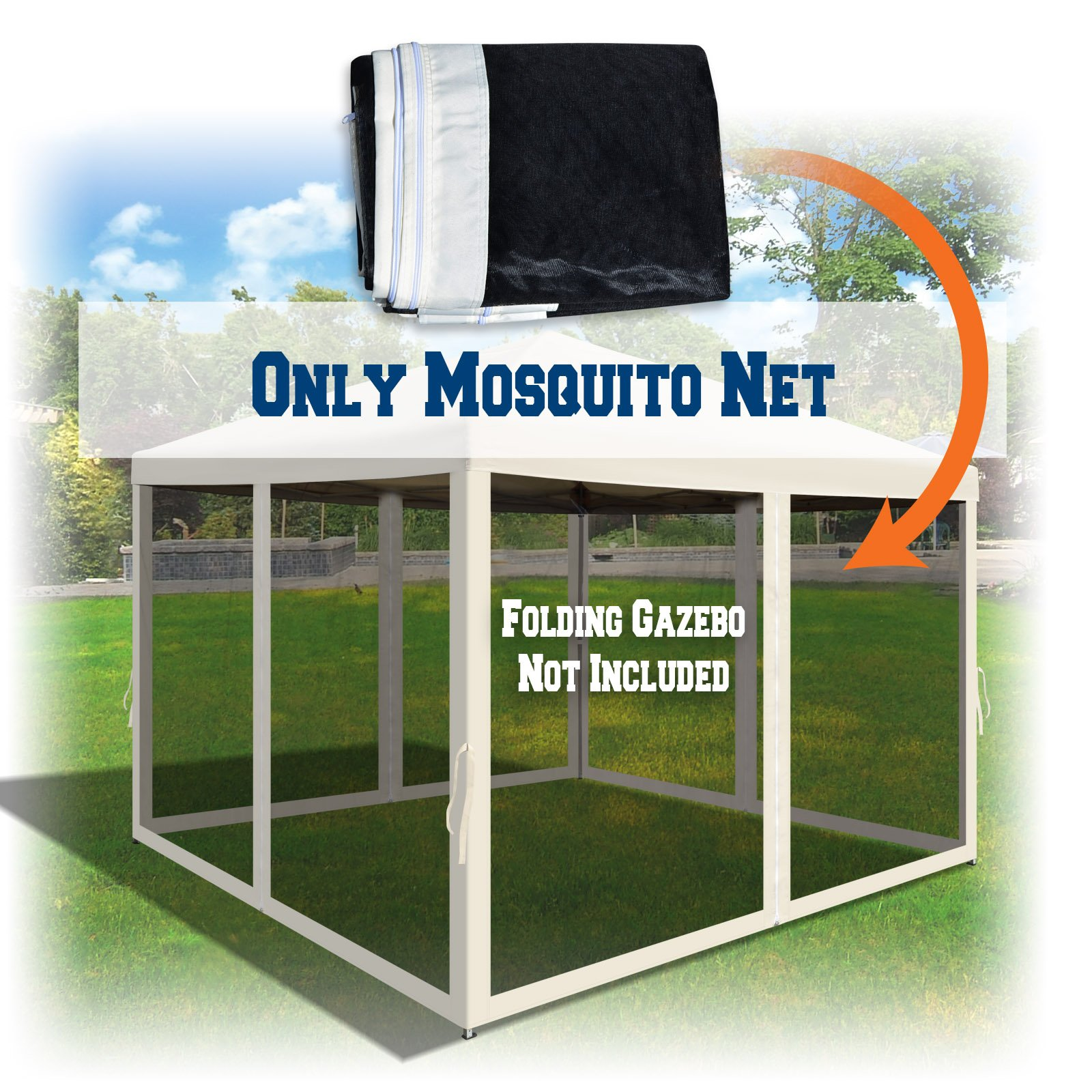 BenefitUSA Canopies 10' L X 6.4' W Mesh Wall Sidewalls for Pop Up Canopy Screen Room, Pack of 4 (Walls Only) (Ecru) by BenefitUSA