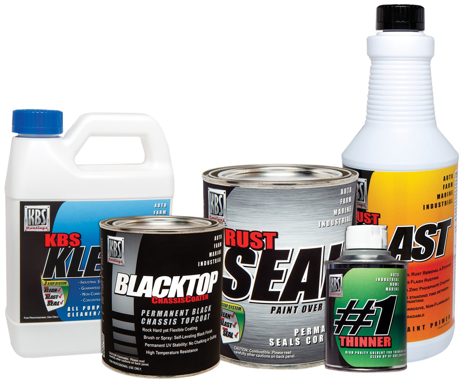 KBS Coatings 5750201 Satin Black/Gloss Black All-in-One Chassis Paint Kit, Preps and Coats Entire Car or Truck Frame