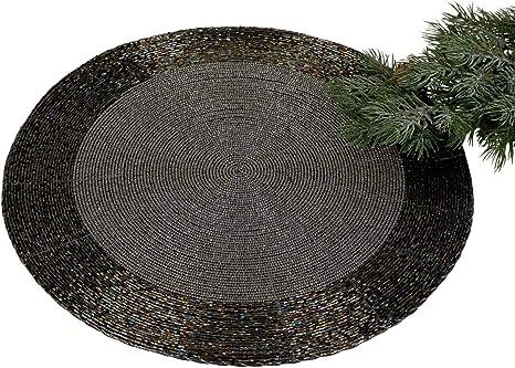 10cm rund Formano 6er Set Untersetzer PERLEN schwarz silber D