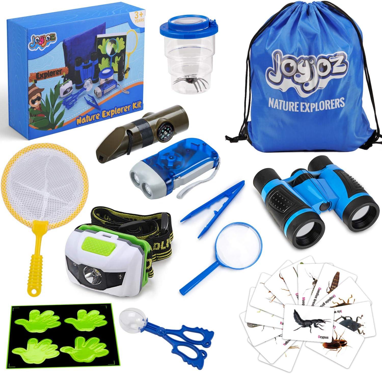 Joyjoz Kit de Exploración al Aire Libre para Niños 12Pcs, Educativos de Ciencias Juguetes de Regalo para Niños, Insectos con Envases, Binoculares, Redes de Mariposa, Lupa, Linterna, Silbato