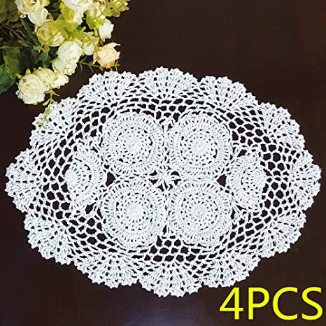 Linens White lace oval doily home decor crochet Kitchen & Dining