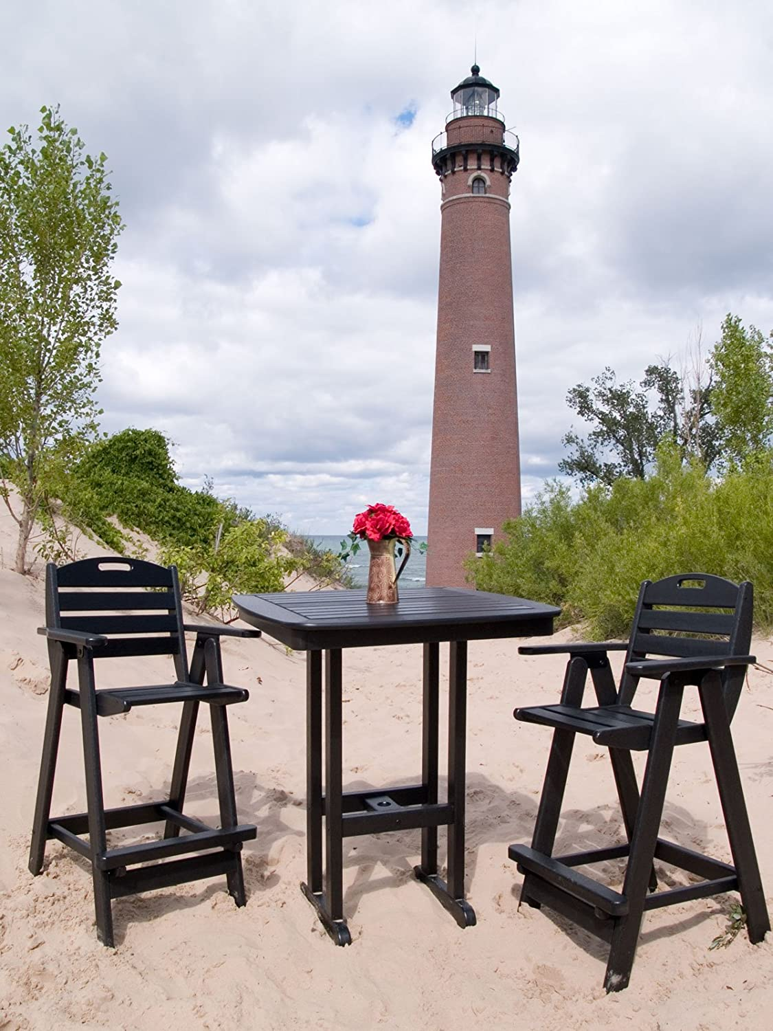 Amazon.com : POLYWOOD NCB46BL Nautical Bar Chair, Black : Patio Dining  Chairs : Garden U0026 Outdoor