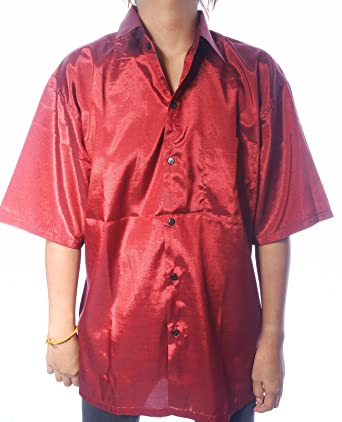 1f9f2ad6dffadd MENS SILK SHIRT - PLAIN BURGUNDY   DARK RED - SHORT SLEEVE SLEEVED size XXL  54in 137cm  Amazon.co.uk  Clothing