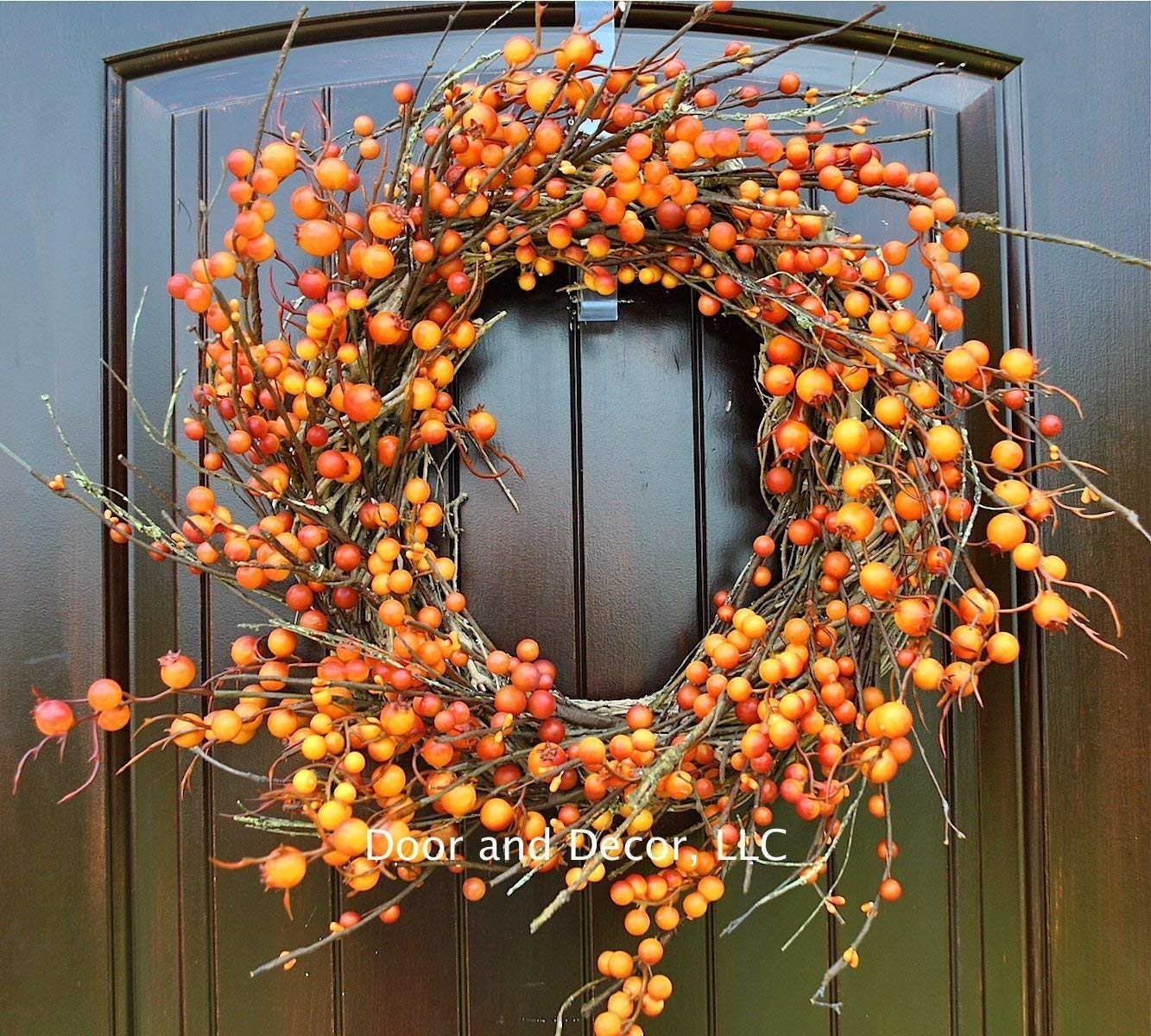 Amazon Com Thanksgiving And Fall Orange Berry Wreath On Grapevine