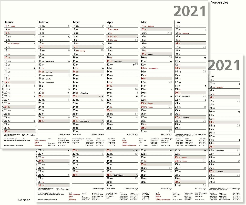 Tafelkalender 2021 Halbjahreskalender 6 Monate Auf Vor Und Ruckseite Din A4 Format 21 X 29 7 Cm Stabile Ausfuhrung Sonn Und Feiertage In Rot Amazon De Burobedarf Schreibwaren