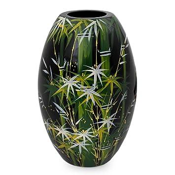 Amazon De Novica 567 149 Cm Bambus Wald Grun Lackiertem Holz Deko Vase