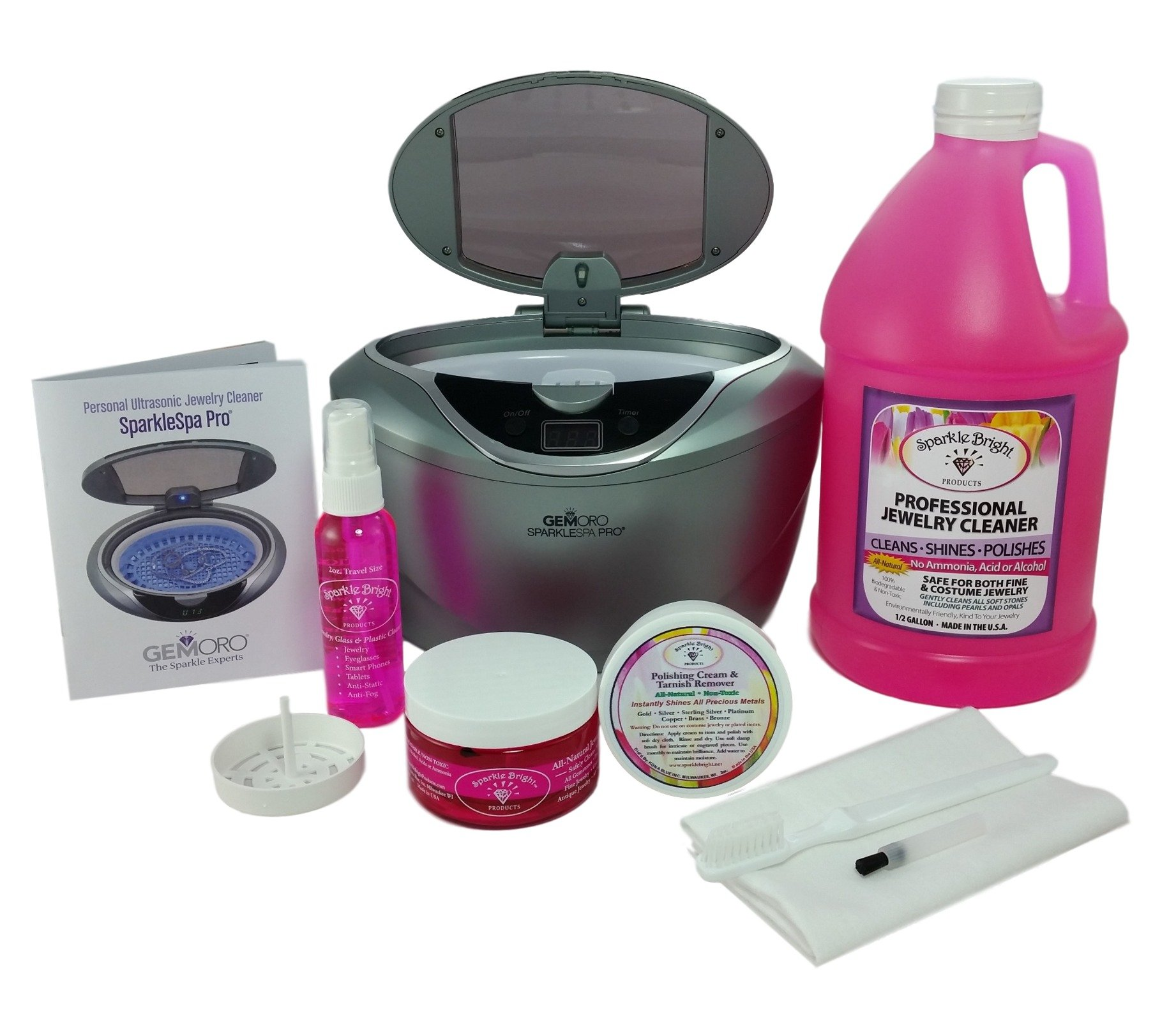 GEMORO 1791 SPARKLE SPA PRO SLATE GRAY ULTRASONIC LUXURY JEWELRY CLEANING KIT Includes Sparkle Bright All-Natural Jewelry Cleaner Products by Sparkle Bright Products