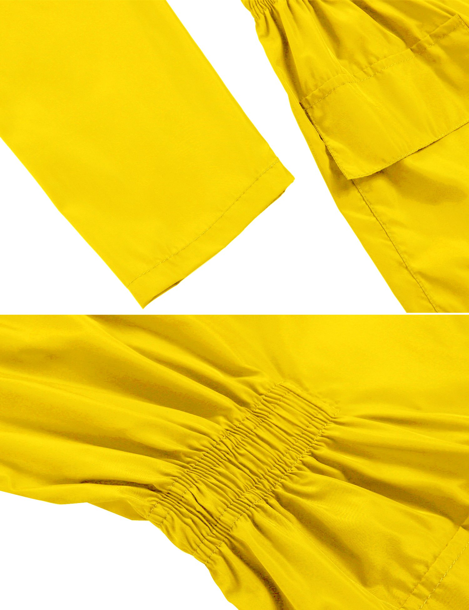 Hotouch Womens' Waterproof Lightweight Raincoat Hooded Outdoor Hiking Long Rain Jacket Yellow S by Hotouch (Image #4)
