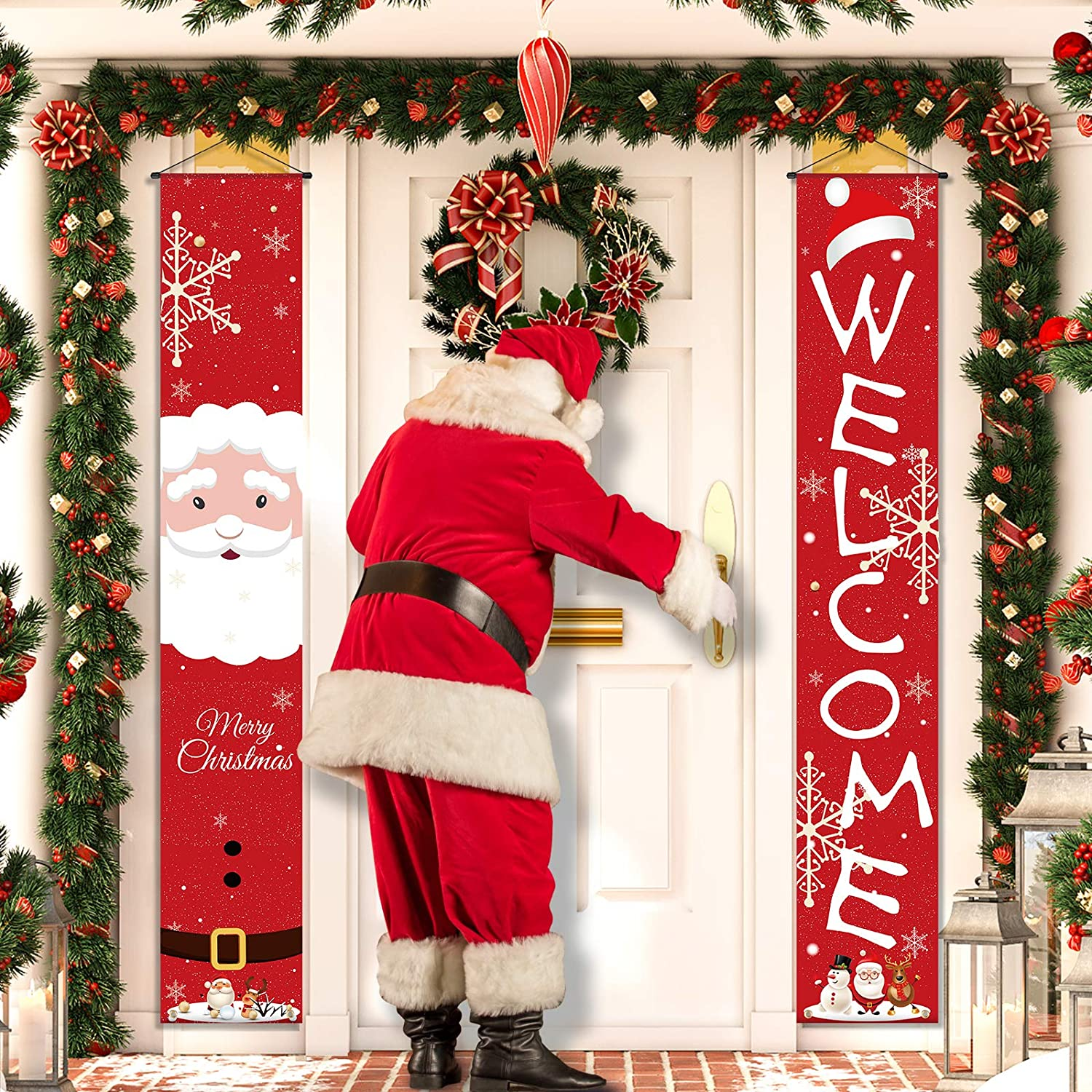 Christmas Decorations, Merry Christmas Banner with Santa Clause Sign, Welcome Christmas Hanging Sign, Bright Red Christmas Porch Wall Decor for Outdoor Indoor Front Door Yard Party New Year Holiday