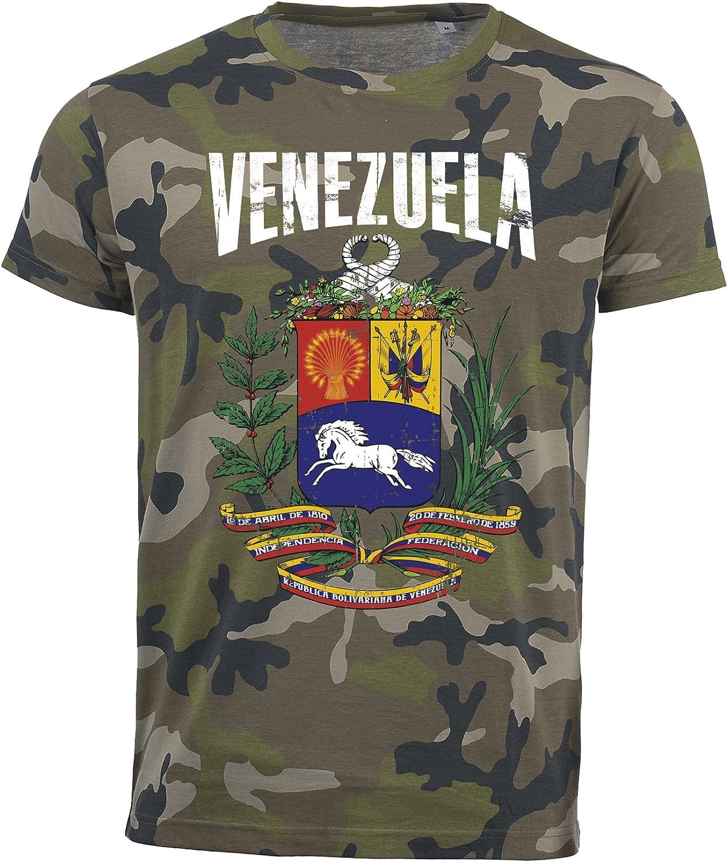 Camiseta Venezuela Camouflage Army Mundial 2018, Vintage Destroy Escudo D01: Amazon.es: Ropa y accesorios