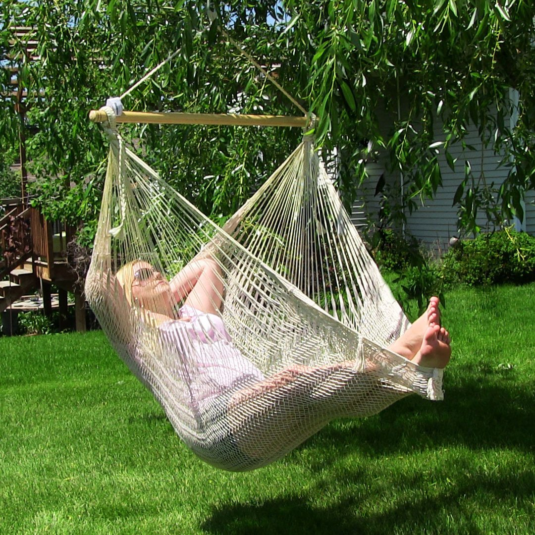 Exceptional Amazon.com: Sunnydaze Extra Large Mayan Hammock Chair, Comfortable Hanging  Swing Seat Cotton/Nylon Rope, Lightweight, Includes Wood Bar,  Indoor/Outdoor Use, ...