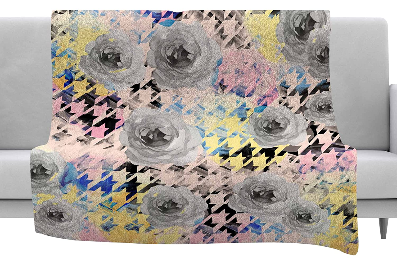 Kess InHouse Mmartabc Houndstooth and Flowers Pink Black Illustration Throw 40 x 30 Fleece Blanket
