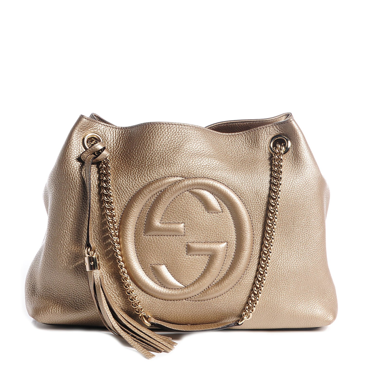 Gucci Soho Metallic Chain Medium Tote Golden Beige Leather New Bag by Gucci (Image #1)