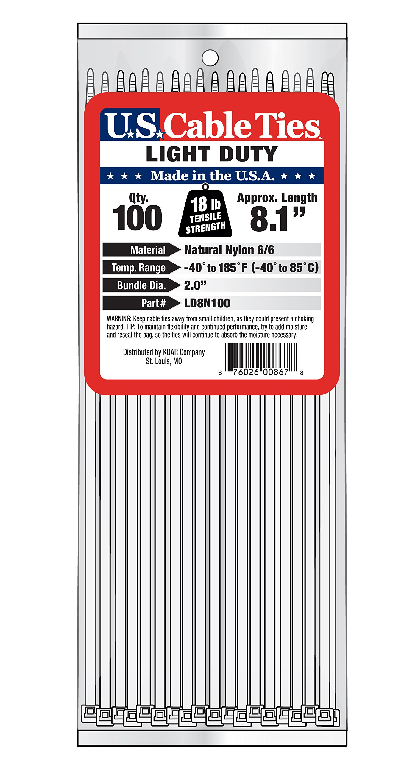 US Cable Ties LD8N100 8-Inch Light Duty Cable Ties, Natural, 100-Pack