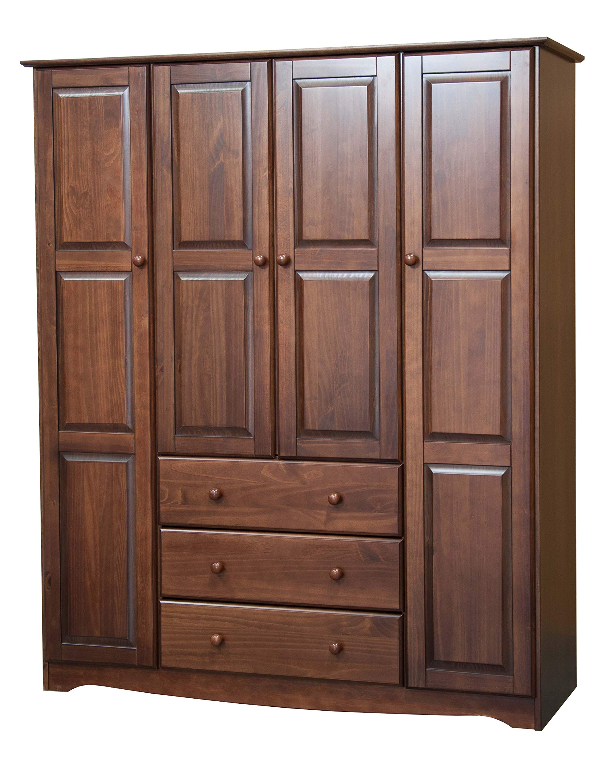 Palace Imports 100% Solid Wood Family Wardrobe/Armoire/Closet 5963, Mocha, 60'' W x 72'' H x 21'' D. 3 Clothing Rods Included. NO Shelves Included. Optional Small and Large Shelves Sold Separately.