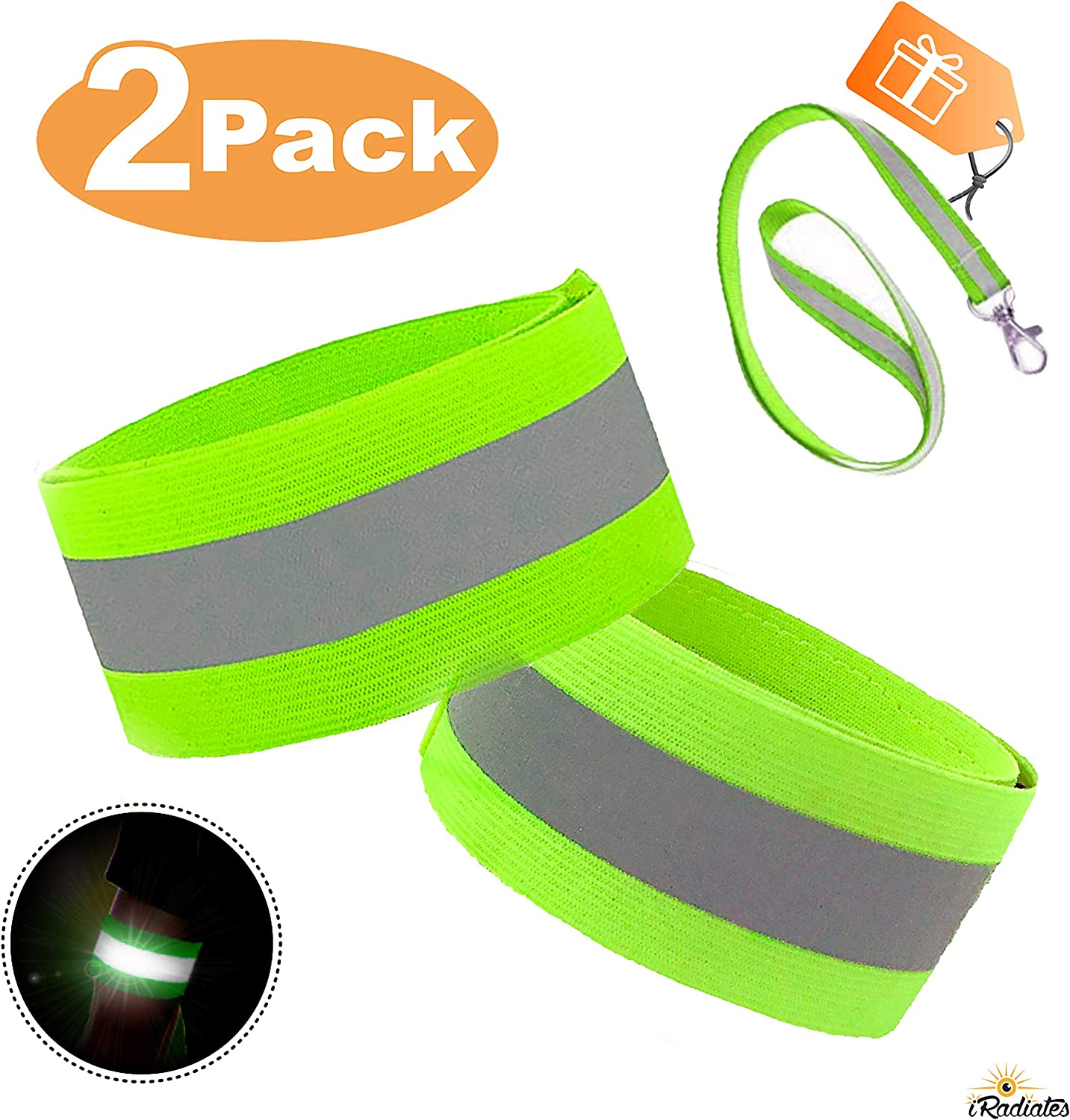 Reflective Tape Strap for Clothing Biking and Safety Night Walking iRadiate Reflective Bands Reflector Running Gear Adjustable Reflective Armband Arm Wrist Ankle Leg Band